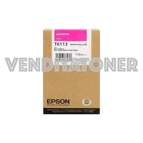 Tanica Originale Epson C13T611300 (T6113) Colore Magenta 110ml